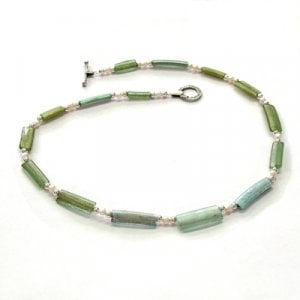 Michal Kirat Necklace Fifteen Ancient Roman Glass Beads with Freshwater Pearls