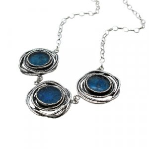 Michal Kirat Three-Piece Roman Glass Silver Necklace - Birds Nest Design