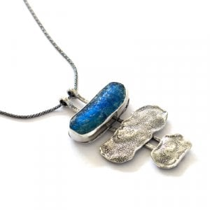 Michal Kirat Silver Necklace with Three-piece Pendant - Roman Glass and Hammered Silver