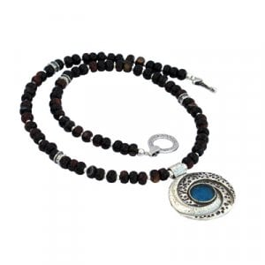 Michal Kirat Black Onyx Necklace with Roman Glass Pendant - Galaxy Setting