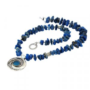 Michal Kirat Roman Glass Silver Necklace - Deep Blue Lapis Beads