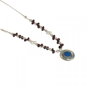 Michal Kirat Roman Glass Silver Necklace - Garnet Beads and Freshwater Pearls