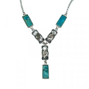 Michal Kirat Silver Roman Glass Necklace with Oblong Pendants - Fantasy Design