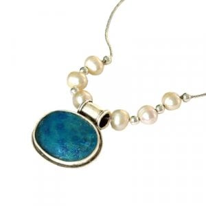 Michal Kirat Roman Glass Silver Necklace with Oval Pendant - Freshwater Pearls
