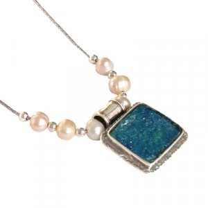 Michal Kirat Freshwater Pearls Silver Necklace with Square Roman Glass Pendant