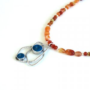 Michal Kirat Orange Carnelian Necklace with Roman Glass in Silver Fish Pendant