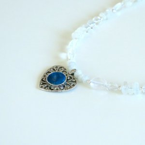 Michal Kirat White Moonstone Necklace with Roman Glass Pendant in Silver Heart