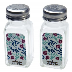 Dorit Judaica Salt and Pepper Shaker Set Hebrew - Red Pomegranates