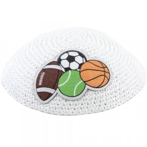 White Sports Knitted Kid's Kippah