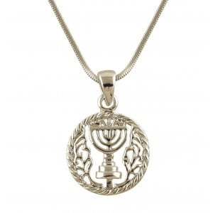 Rhodium Silver tone Circle 7 Branch Menorah Necklace