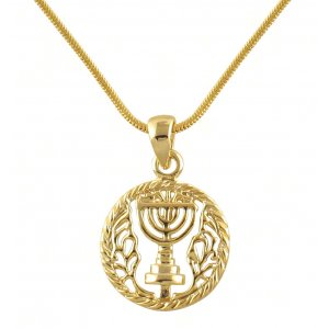AJDesign Rhodium Gold tone Circle 7 Branch Menorah Necklace