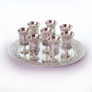 Silver Plated Tray with Eight Decorative Small Kiddush Cups