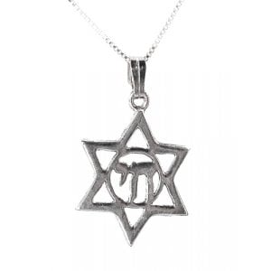 Sterling Silver Star of David Pendant in Chai circle
