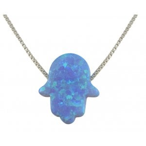aJudaica Light Blue Opal Hamsa Pendant Necklace