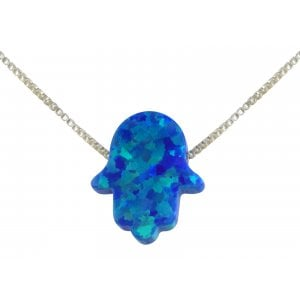 aJudaica Blue Opal Hamsa Pendant Necklace