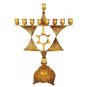 Star of David Classic Hanukkah Menorah in Bronze or Nickel
