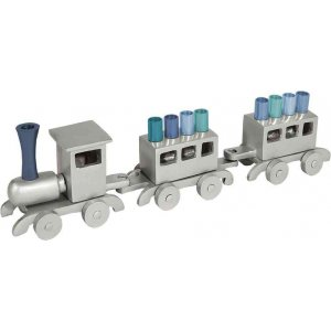 Yair Emanuel Anodized Aluminum Child's Train Hanukkah Menorah - Blue