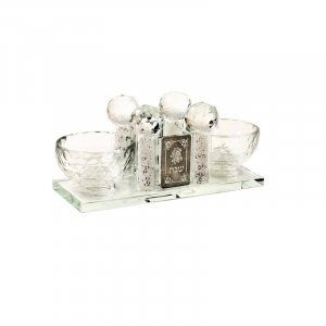 Crystal Salt, Pepper and Toothpick Holder with Decoration