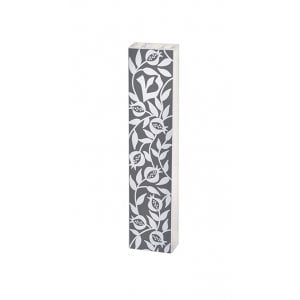 Dorit Judaica Lucite Mezuzah Case Pomegranate Leaf Design - Gray and White
