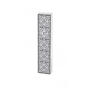 Dorit Judaica Lucite Mezuzah Case Fleur De Lys in Frame Design - Gray