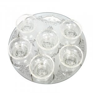 Round Crystal Mirror Passover Seder Plate