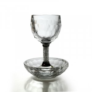 Crystal Kiddush Cup and Plate with Crushed Glass Stem
