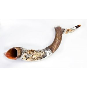 Silver Yemenite Shofar - Moses and 10 Commandments