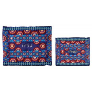 Yair Emanuel Embroidered Tallit and Tefillin Bag, Stars of David - Red and Blue
