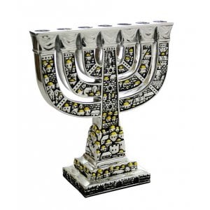 Seven Branch Menorah with Two Tone Jerusalem