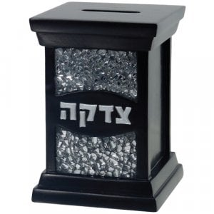 Polyresin Tzedakah Box with Glass Style Decoration