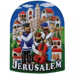 Colorful Plastic Magnet - Lively Klezmer Musicians on Jerusalem Images