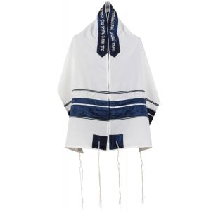 White Tallit with Blue Crinkled Stripe Set by Ronit Gur