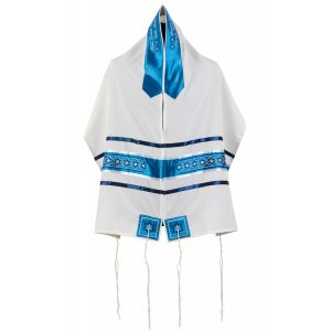 Star of David Blue Silky Stripe Tallit Set by Ronit Gur