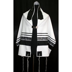 Black-Silver Stripe Tallit Set by Ronit Gur