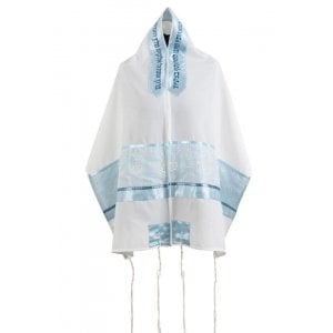Ronit Gur Pastel Blue Floral Design Tallit Prayer Shawl Set with Bag and Kippah