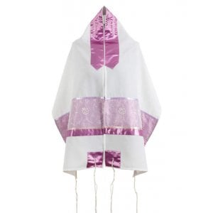 Ronit Gur Pink Flower Design Tallit Prayer Shawl Set With Bag and Kippah