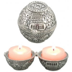 Compact Travel Candlesticks, Pewter - Jerusalem Design