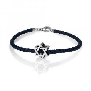 Leather Bracelet with Silver Star of David Charm