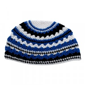 Frik Kippah with Blue, White and Black Stripes