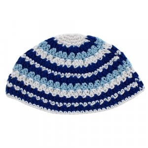 Frik Kippah with Blue and White Stripes