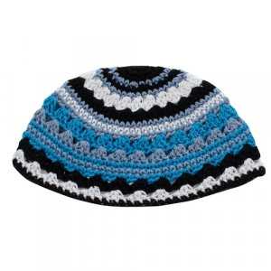 Frik Kippah with Stripes in Black, White and Shades of Blue