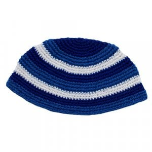 Royal Blue and White Frik Kippah