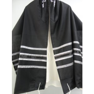 Black-White Wool Tallit Set by Galilee Silks