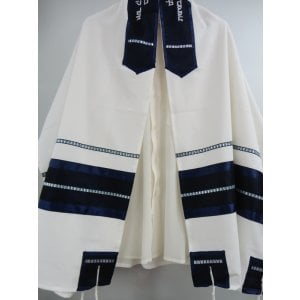 Off White and Blue Tallit Set by Galilee Silk