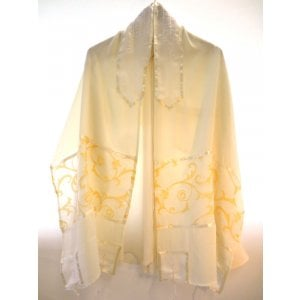Sheer Tallit with a Touch of Gold by Galilee Silks