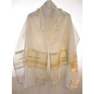 Holiday Gold Sheer White Tallit Set by Galilee Silks