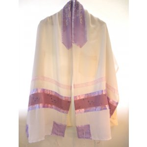 Sheer White, Lavender and Mauve Tallit Set by Galilee Silks