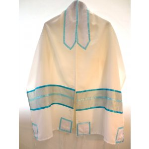 Sheer White and turquoise Tallit Set by Galilee Silks