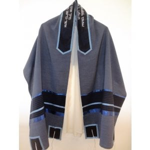 Shades of Blue Tallit Set - Galilee Silk