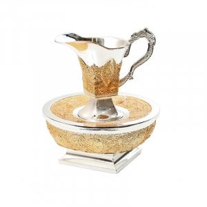 Mayim Achronim Hand Wash Cup Gold Filigree design